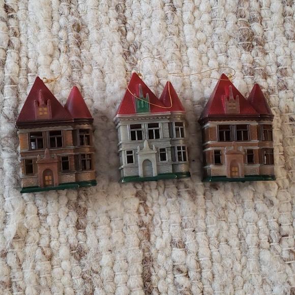 Set of three house ornaments